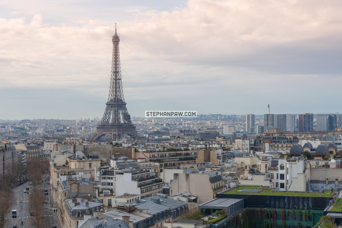 """Eiffel Tower from above // Paris, France"" stock image"