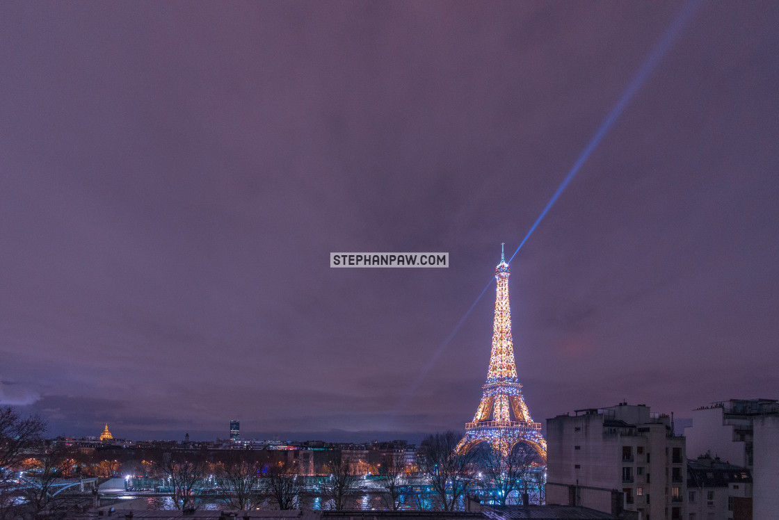"""Sparkling led lights of the Eiffel Tower // Paris, France"" stock image"
