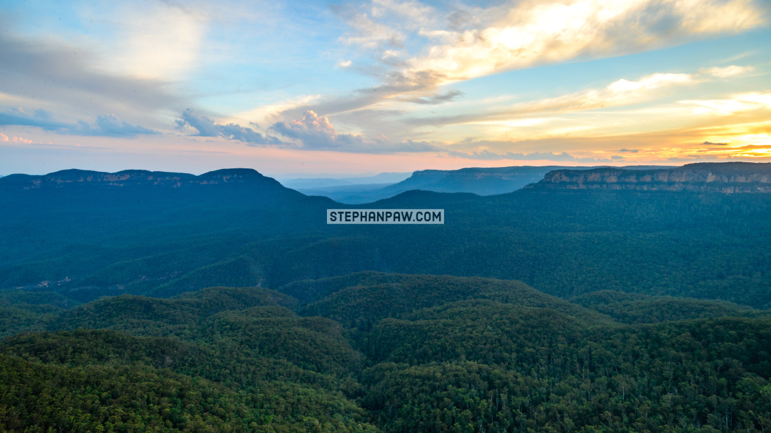"""Sunset over the Jamison Valley // Blue Mountains, Australia"" stock image"