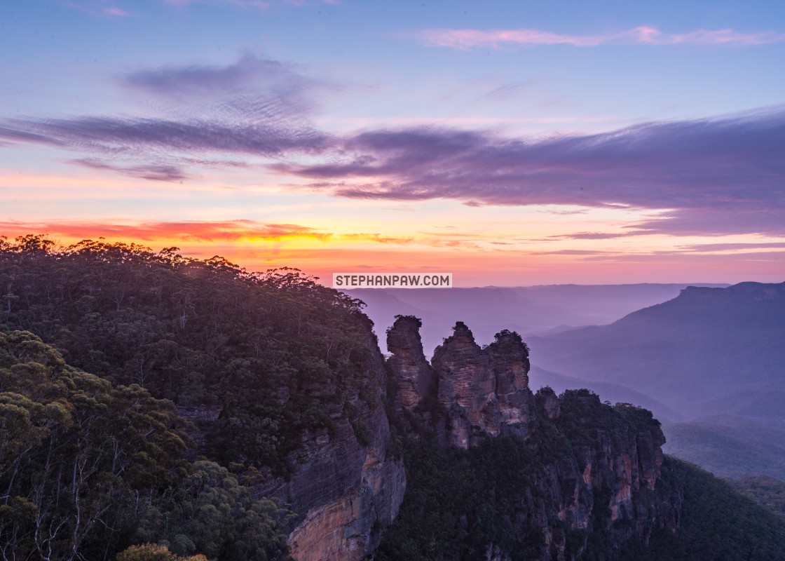 """Sunset over the Three Sisters // Blue Mountains, Australia"" stock image"