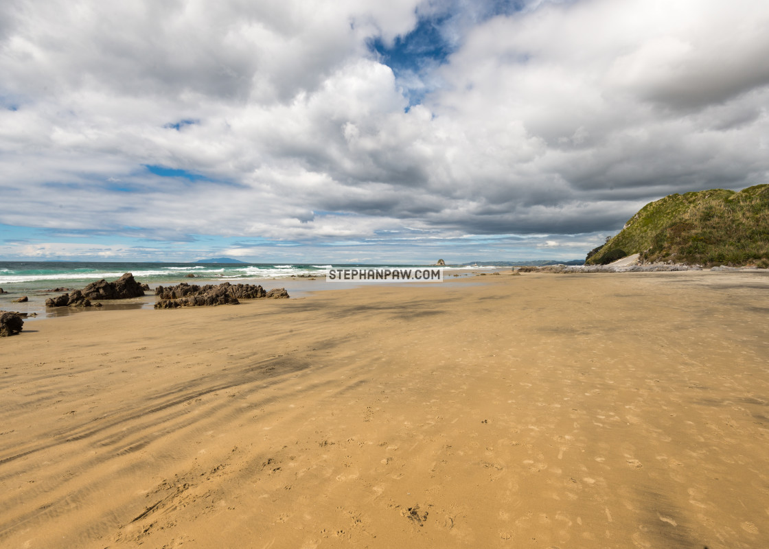 """Grey lines in the sand of Mangawhai Beach // Northland, New Zeal"" stock image"