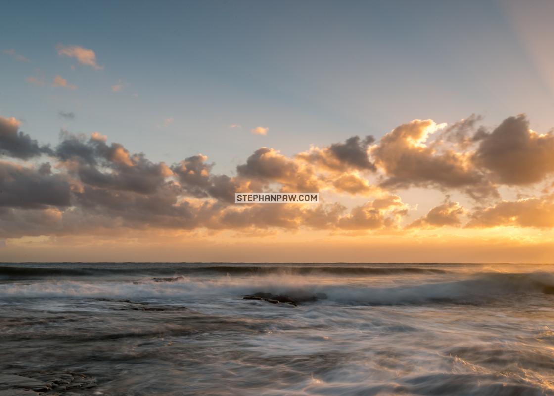 """Soothing sunrise over Collaroy Beach // Sydney, Australia"" stock image"