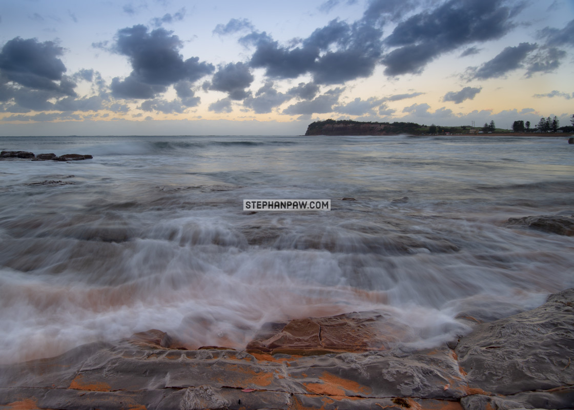 """Gloomy start to the day off Collaroy // Sydney, Australia"" stock image"