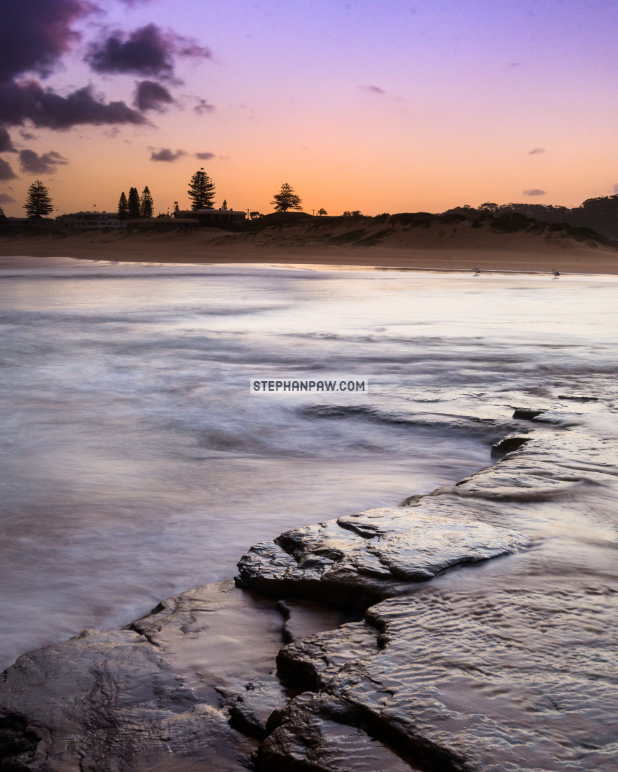 """Sunset over the sand dunes at North Narrabeen // Sydney, Austral"" stock image"