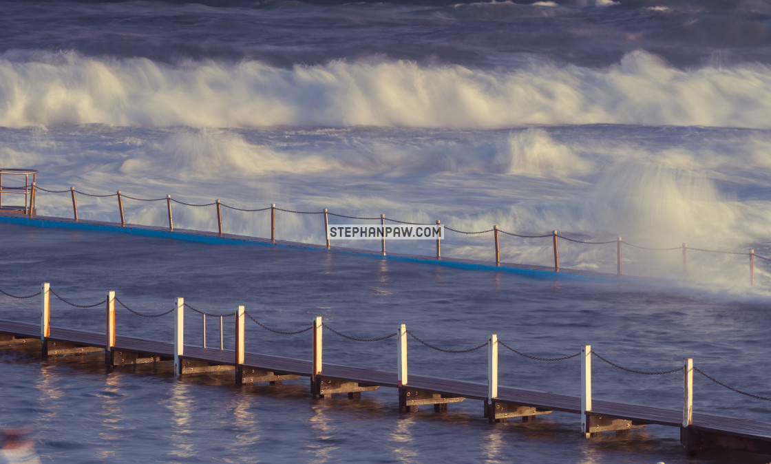"""Big swells at North Narrabeen rock pool // Sydney, Australia"" stock image"