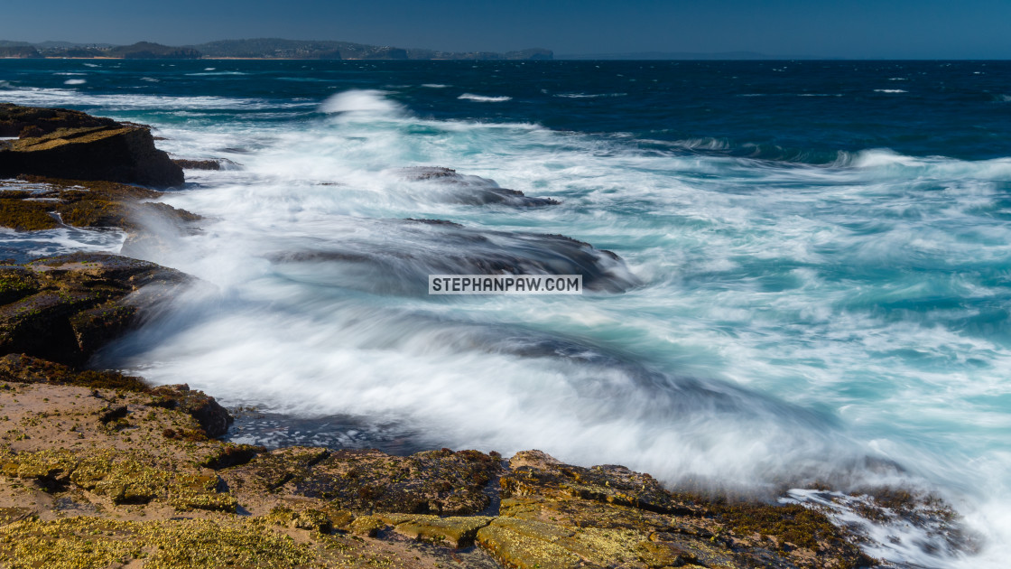 """Hectic surf conditions off Long Reef Headland // Sydney, Austral"" stock image"