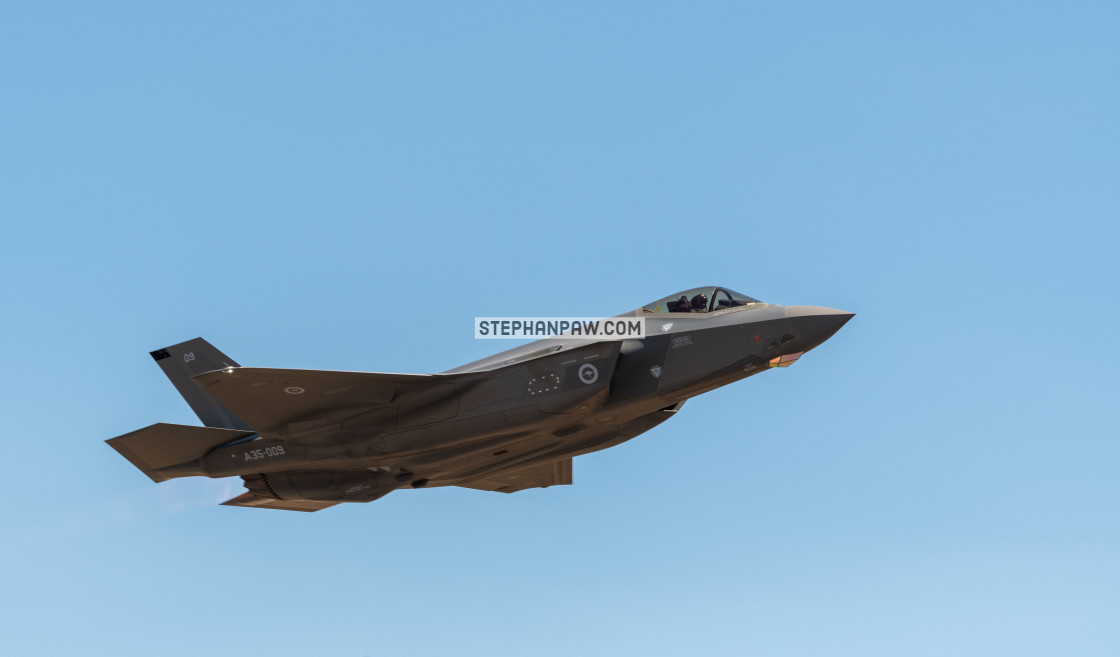 """RAAF F-35A Joint Strike Fighter on display at Avalon Airshow 201"" stock image"