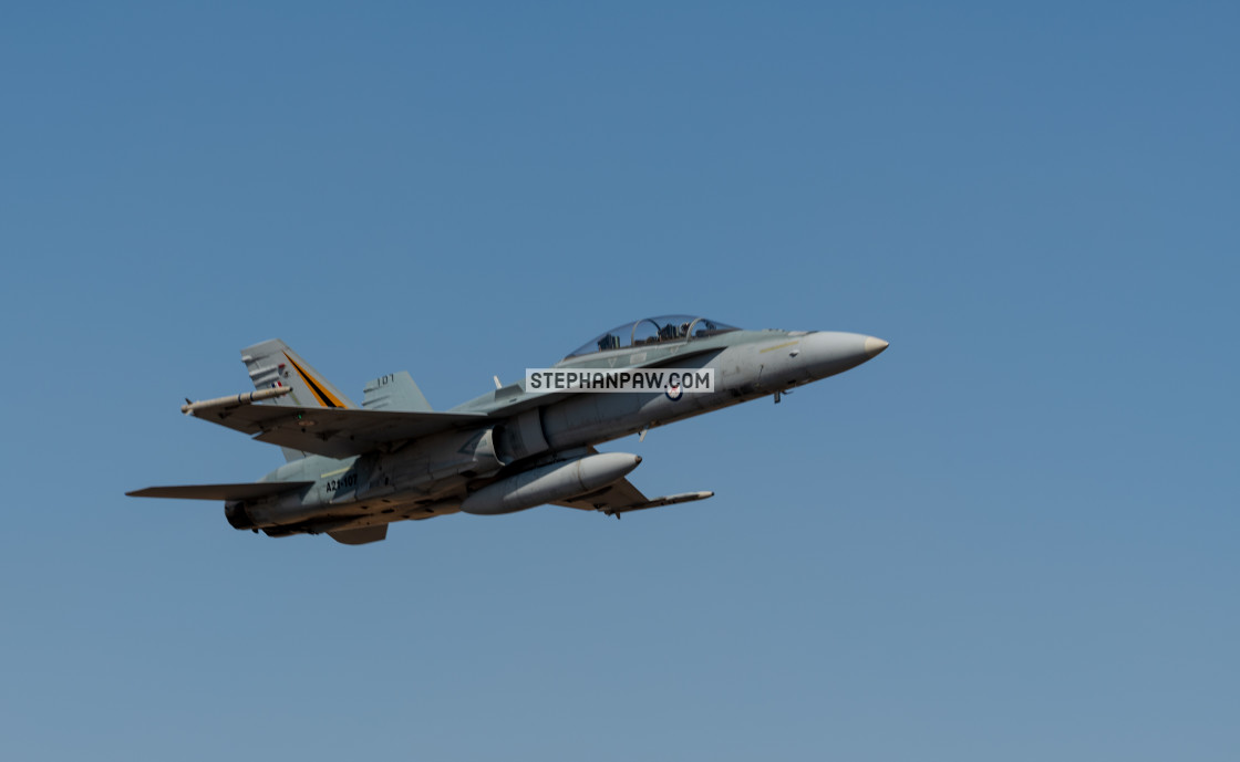 """RAAF Hornet on display at Avalon Airshow 2019 // Melbourne, Aust"" stock image"