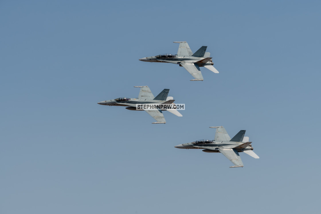"""RAAF Hornets on display at Avalon Airshow 2019 // Melbourne, Aus"" stock image"