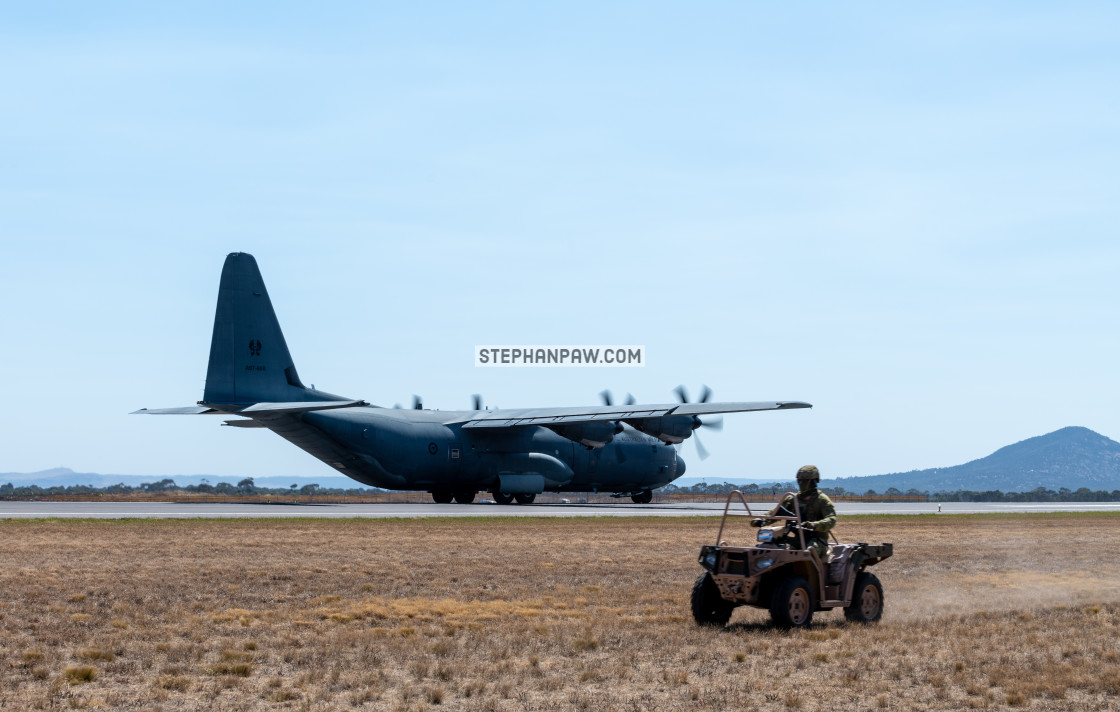 """RAAF Hercules on display at Avalon Airshow 2019 // Melbourne, Au"" stock image"