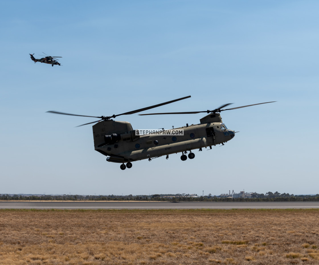 """Australian Army Chinook with ARH in overwwatch at Avalon Airshow"" stock image"