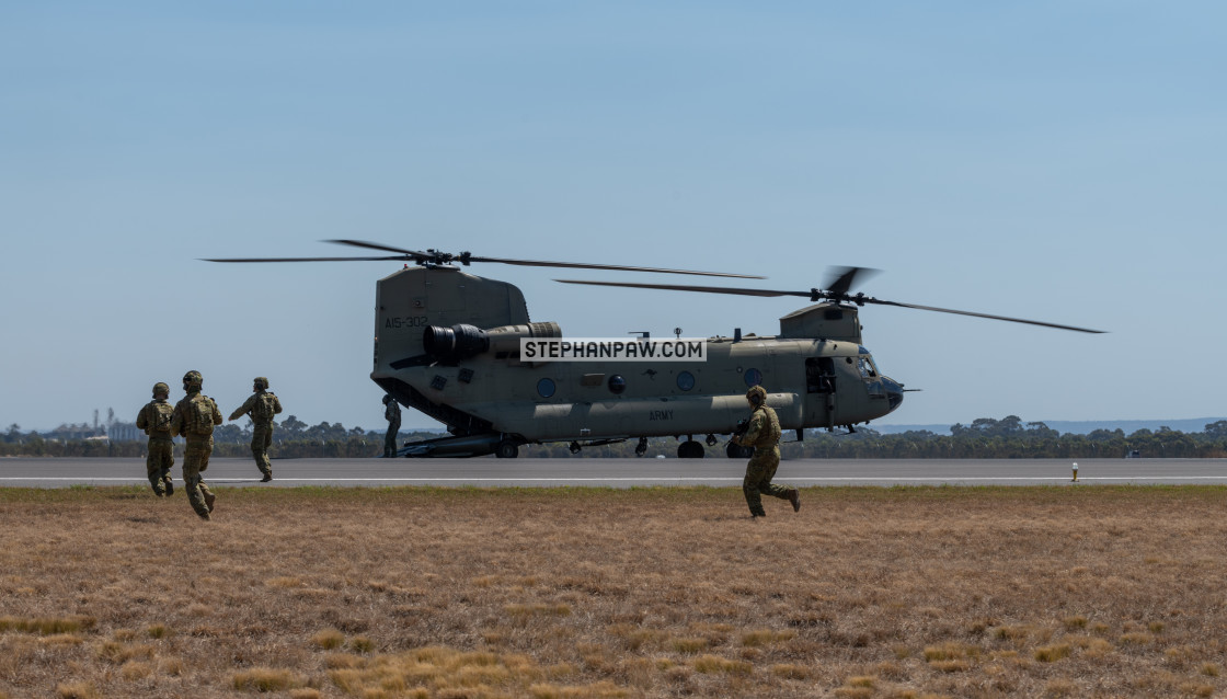"""Australian Army Chinook airlifts troops at Avalon Airshow 2019 /"" stock image"
