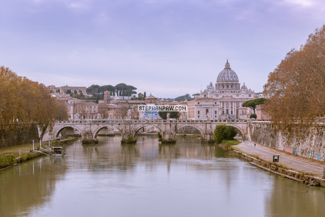 """St. Peter's Basilica over the River Tiber // Rome, Italy"" stock image"