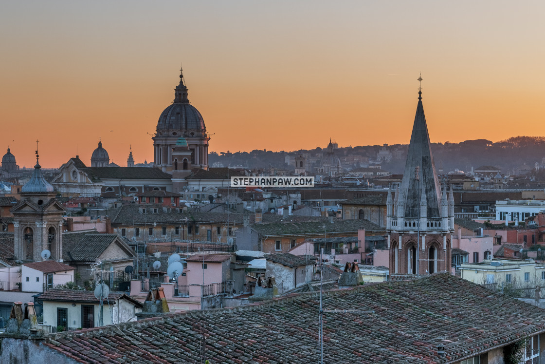 """Dusk over the rooftops of Rome // Rome, Italy"" stock image"