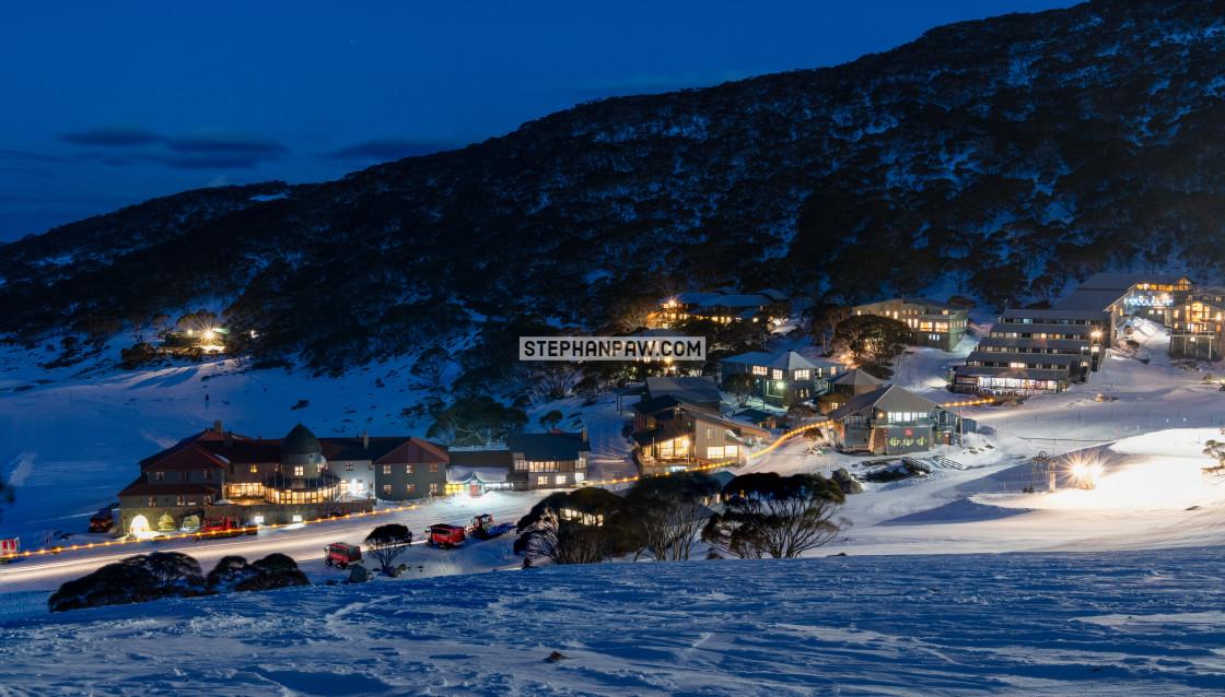 """Alpine village at dusk // Charlotte Pass, Australia"" stock image"