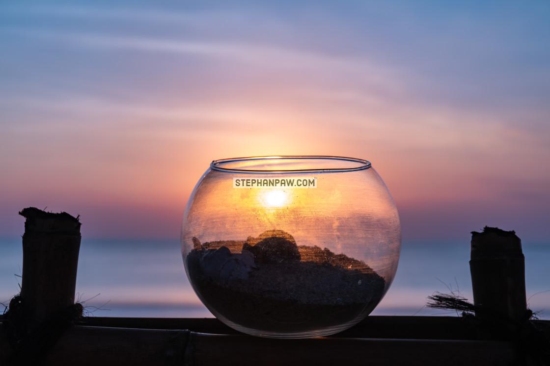 """""""Sunset through fishbowl // Jimbaran Beach"""" stock image"""