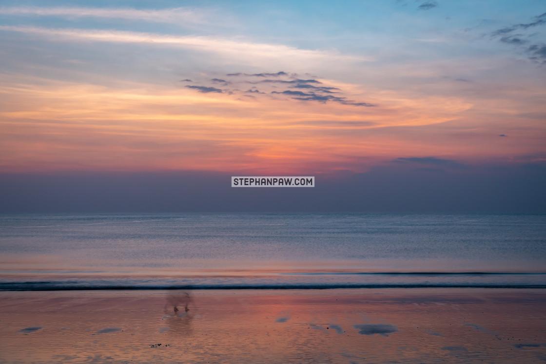 """""""Pastel coloured sunset // Jimbaran Beach"""" stock image"""