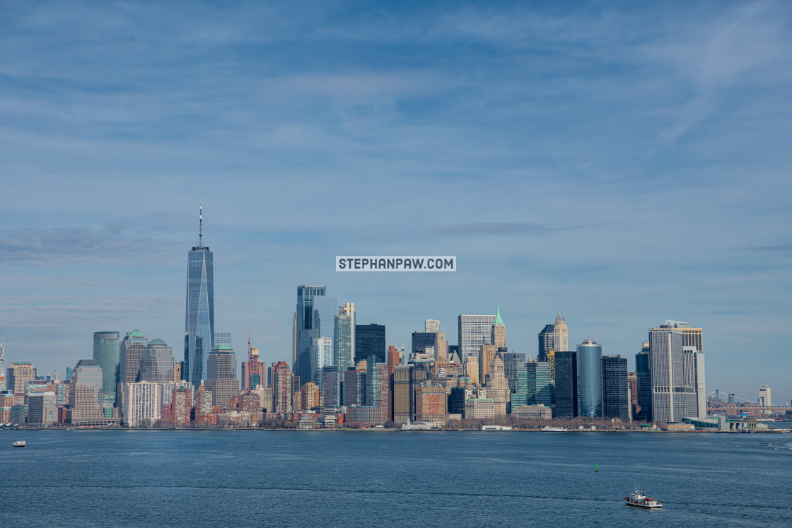 """Lower Manhattan skyline from Liberty Island // Manhattan, New Yo"" stock image"