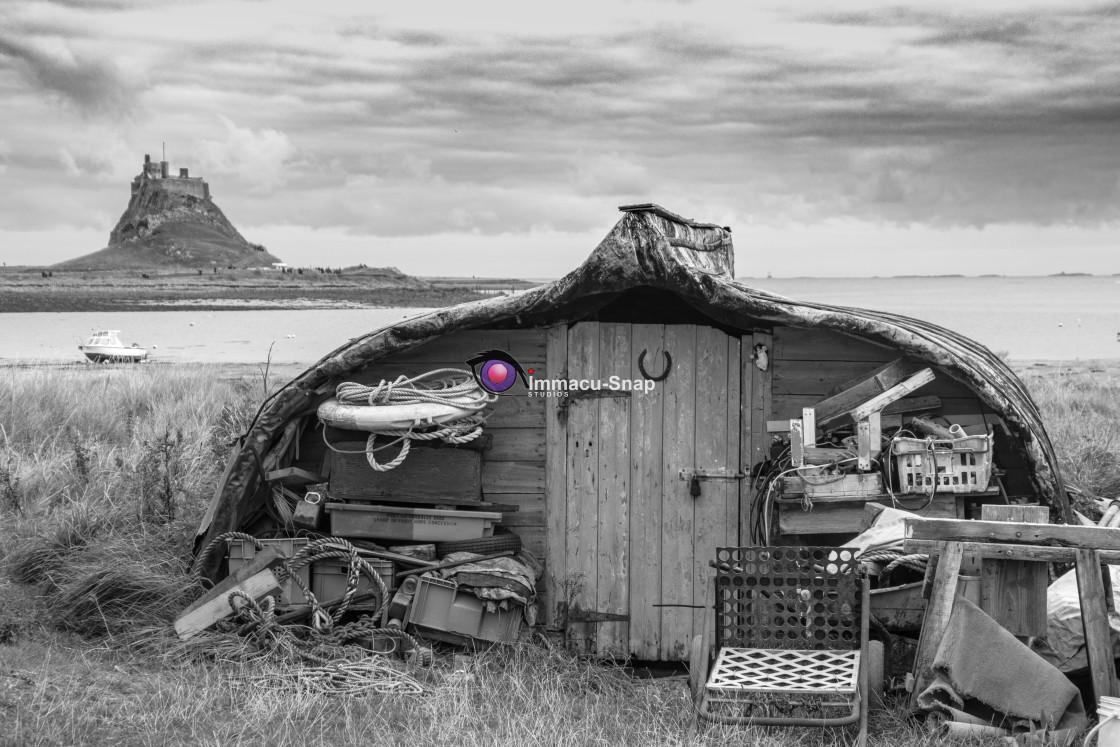 """Holy Island - A Humble Dwelling"" stock image"