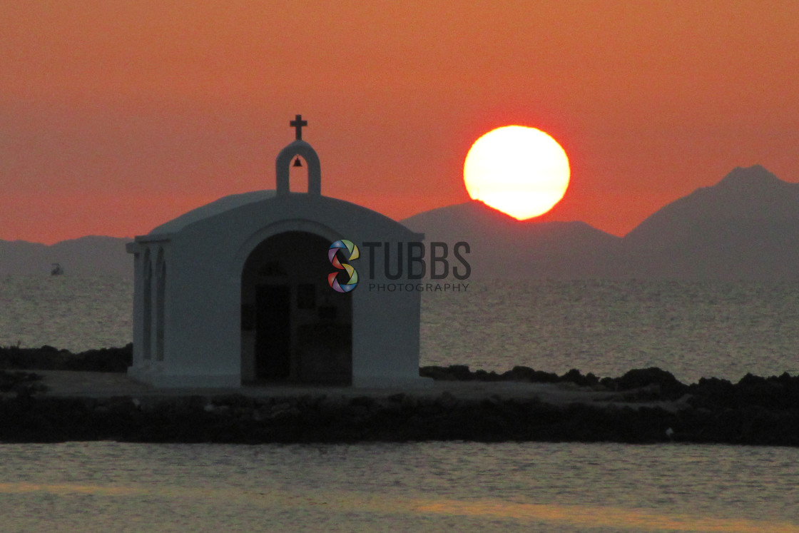 """Sunrise at Agios Nikolaos Church"" stock image"