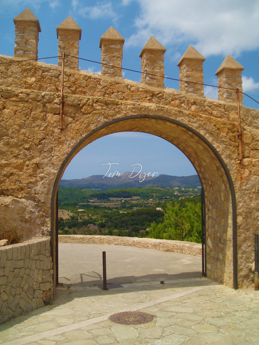 """City Wall Archway, Alcudia, Mallorca"" stock image"