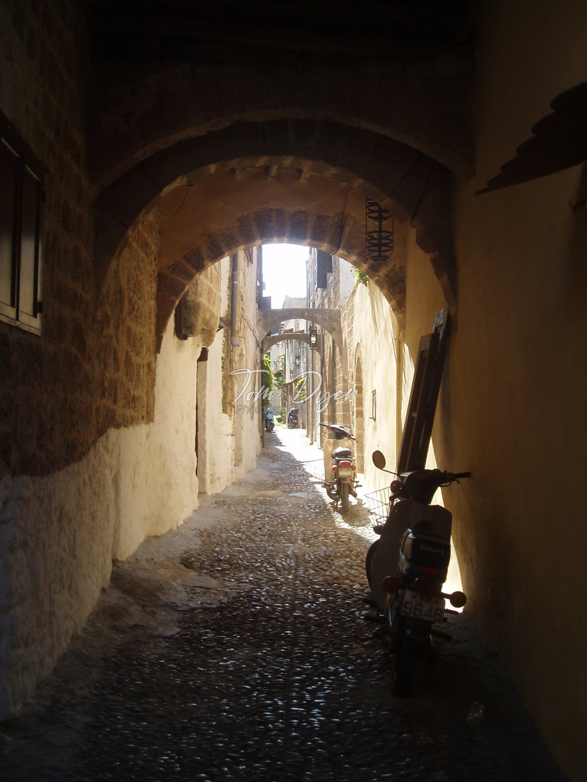 """Narrow Alley, Old Town Rhodes, Greece"" stock image"