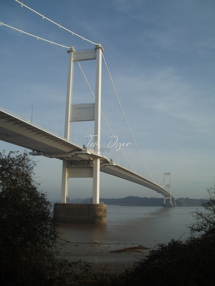 """Severn Bridge from Beachley"" stock image"