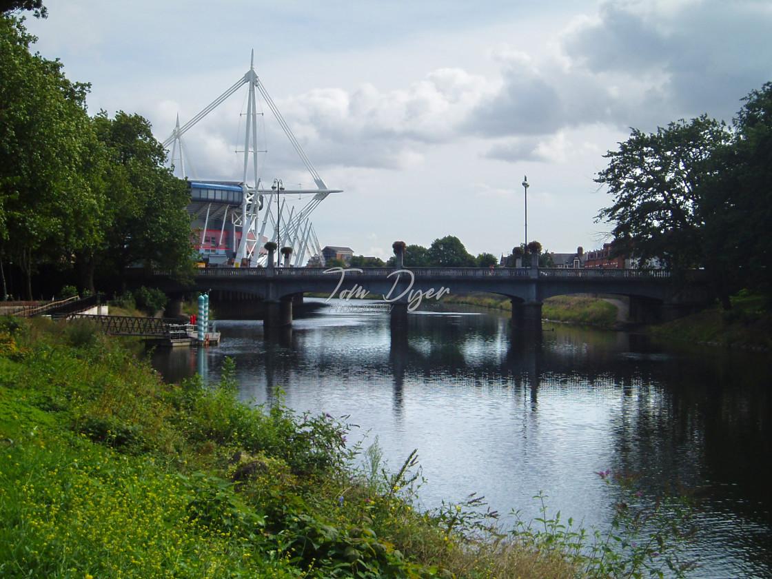 """Millennium Stadium and the River Taff, Cardiff"" stock image"
