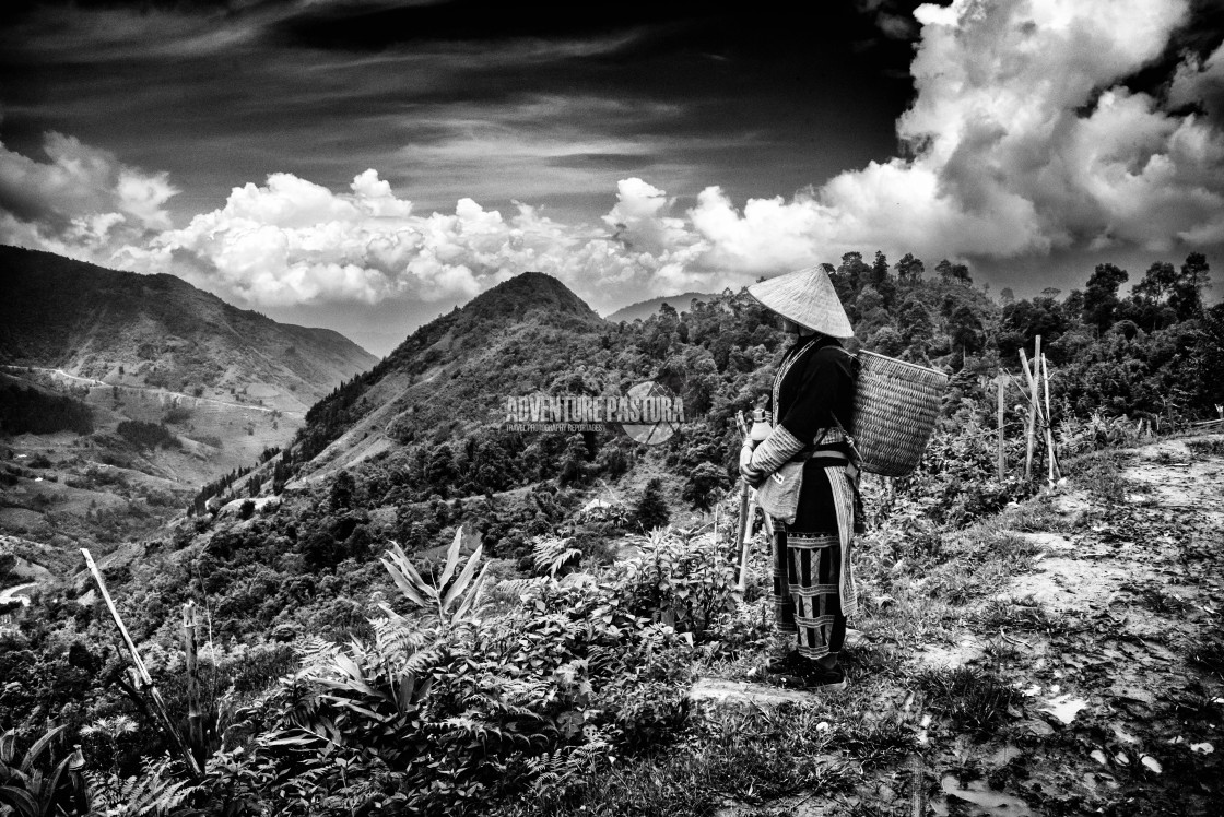 """""""May Yao and her mountains"""" stock image"""