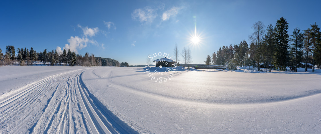 """Ski Track - Frozen Lake"" stock image"