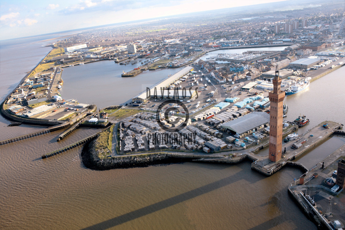 """""""Air view of Grimsby Docks fish market and dock tower"""" stock image"""