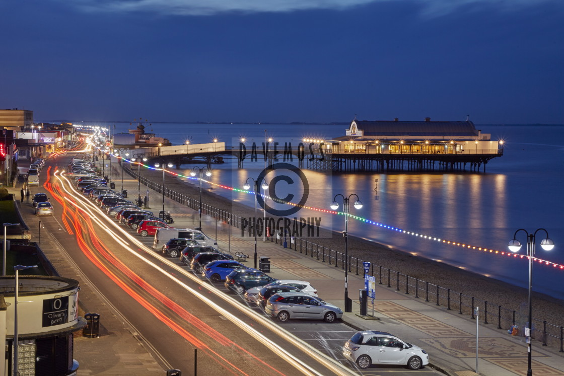 """""""Cleethorpes pier reflecting on the high tide"""" stock image"""