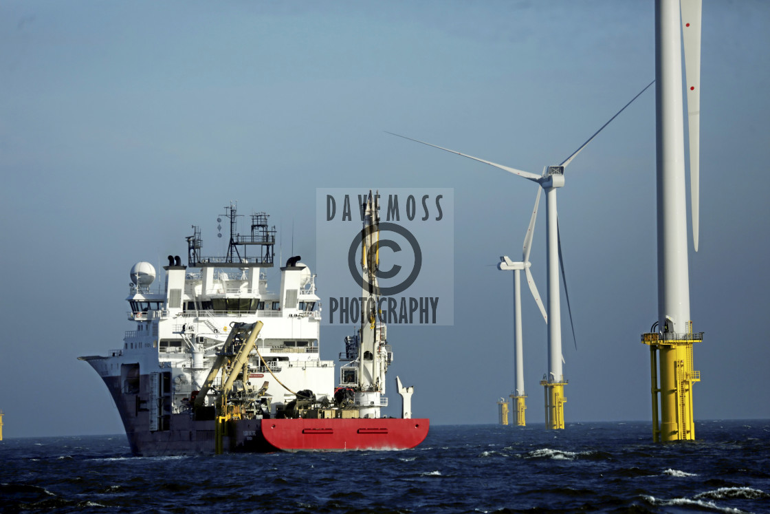"""""""Wind turbines offshore support vessel"""" stock image"""