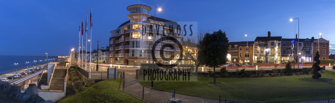"""""""The Point apartments Cleethorpes beach at dusk"""" stock image"""