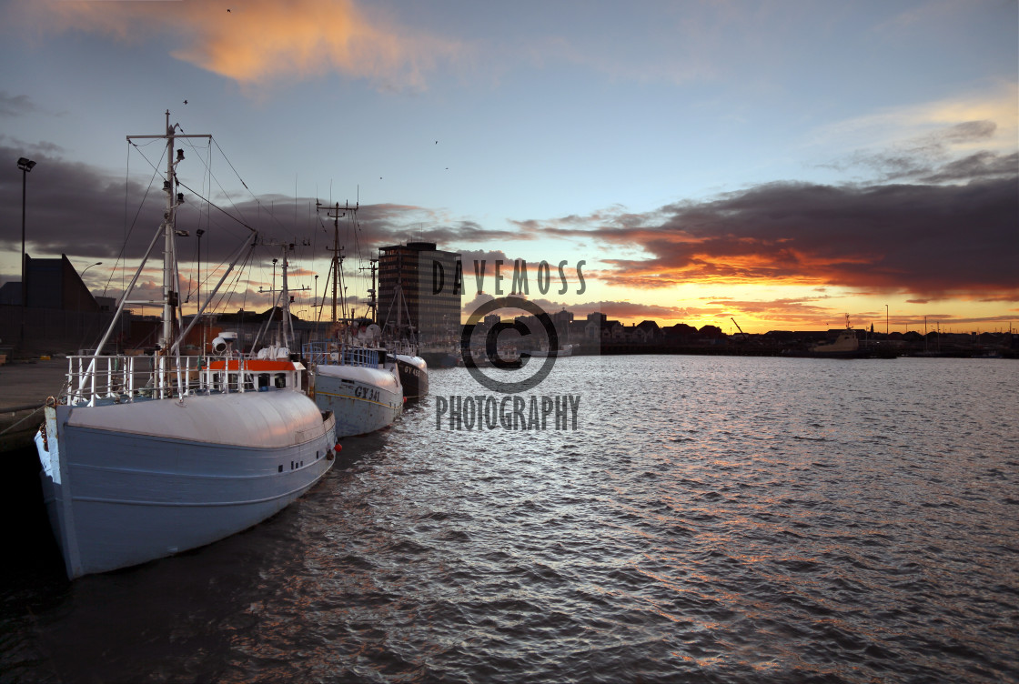 """""""Grimsby Fish dock docks trawler and ross house"""" stock image"""