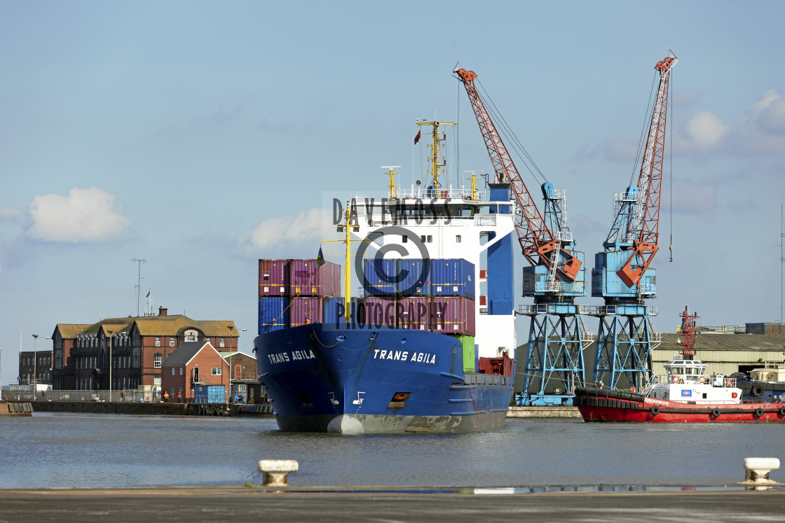 """""""Associated British Ports Immingham Docks container Ship"""" stock image"""