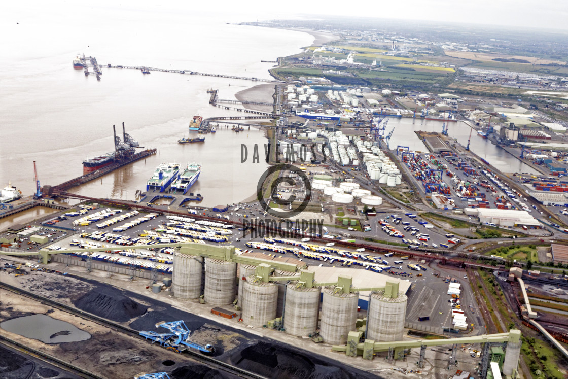 """Immingham docks Biofuel terminal in foreground"" stock image"