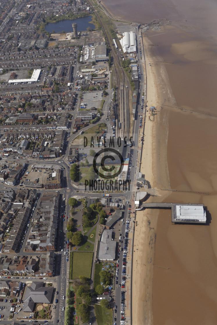 """Cleethorpes Pier railway train station beach"" stock image"