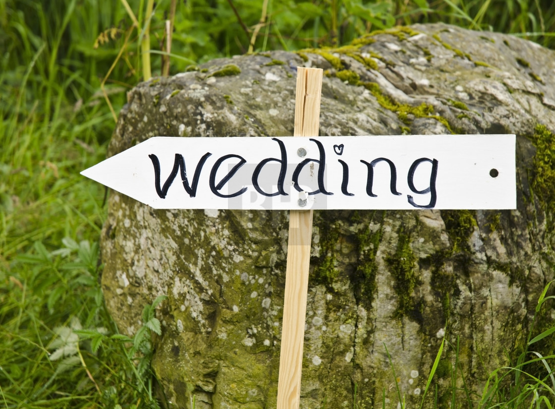 """Wedding this way"" stock image"