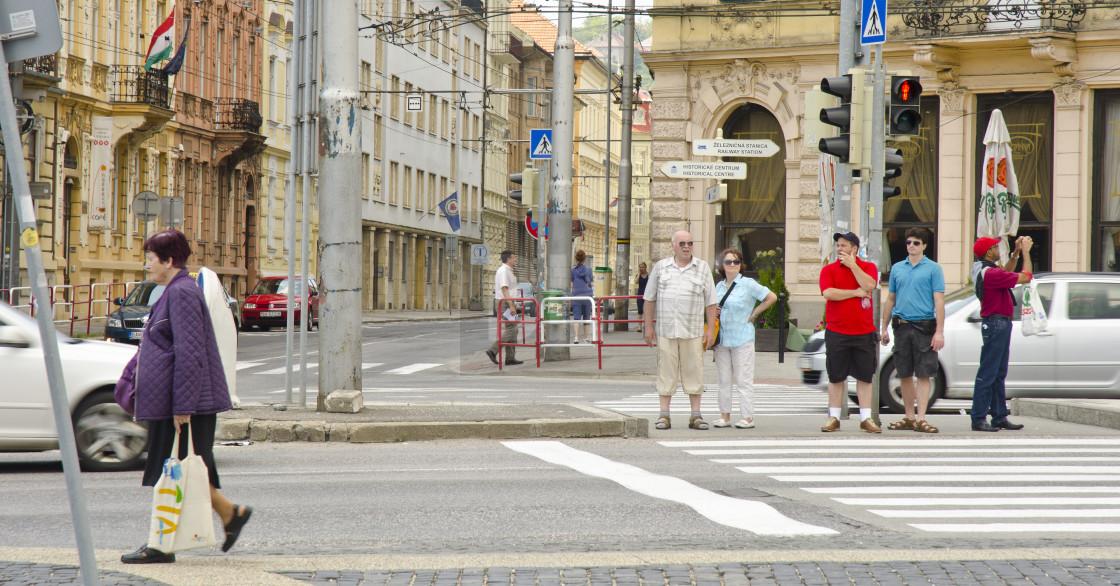 """Pedestrian crossing in Bratislava"" stock image"