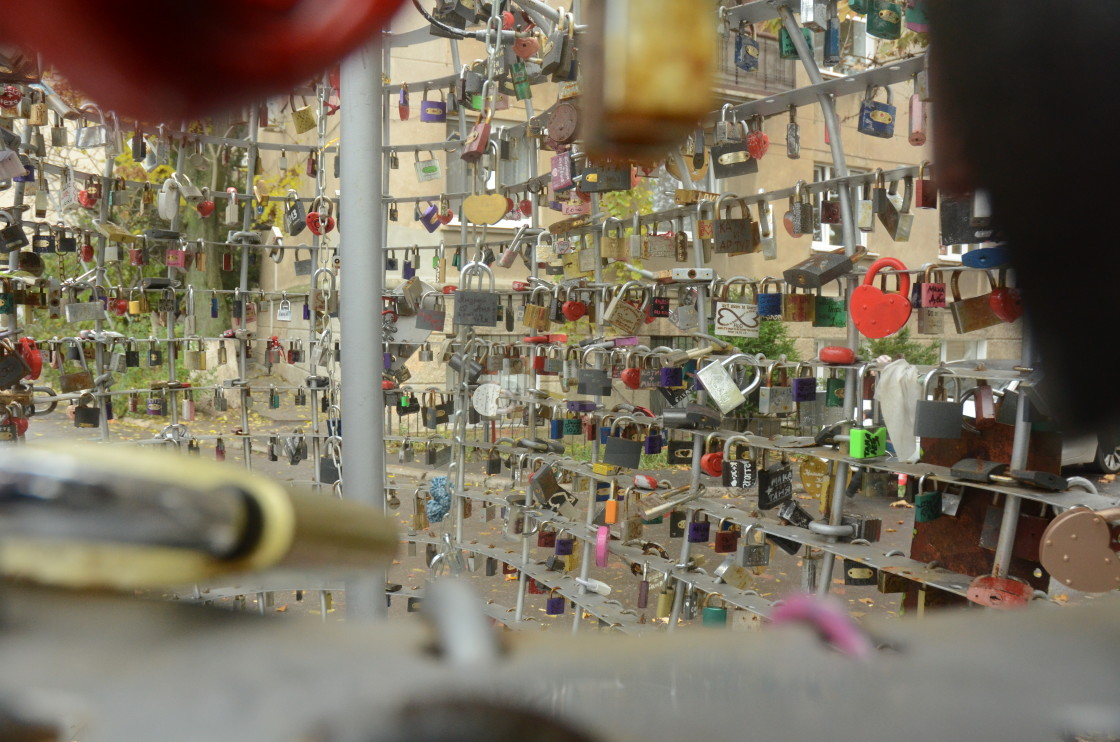 """Lovers' Padlocks in Odessa, Ukraine"" stock image"