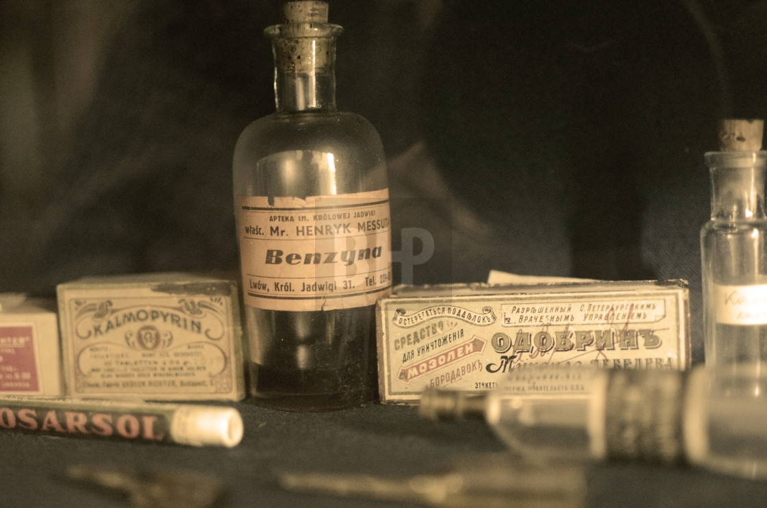 """Vintage pharmacy shelf"" stock image"