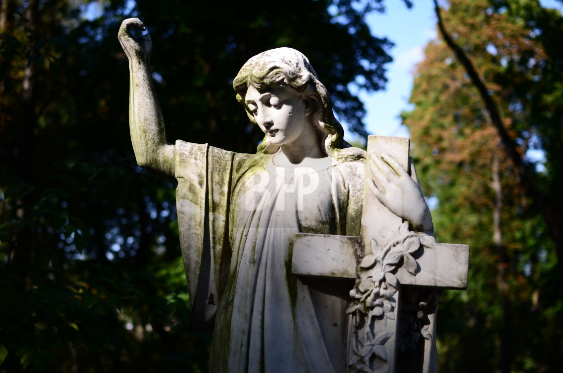 """""""Statue in Lychakiv Cemetery, Lviv"""" stock image"""