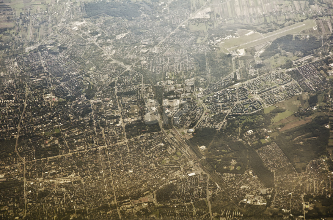 """Aerial view of Lodz, Poland"" stock image"