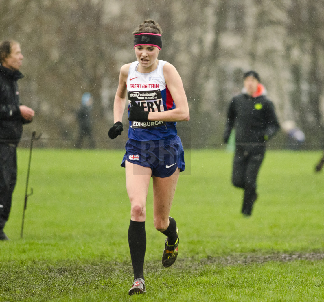 """Kate Avery on the way to Edinburgh X Country victory"" stock image"