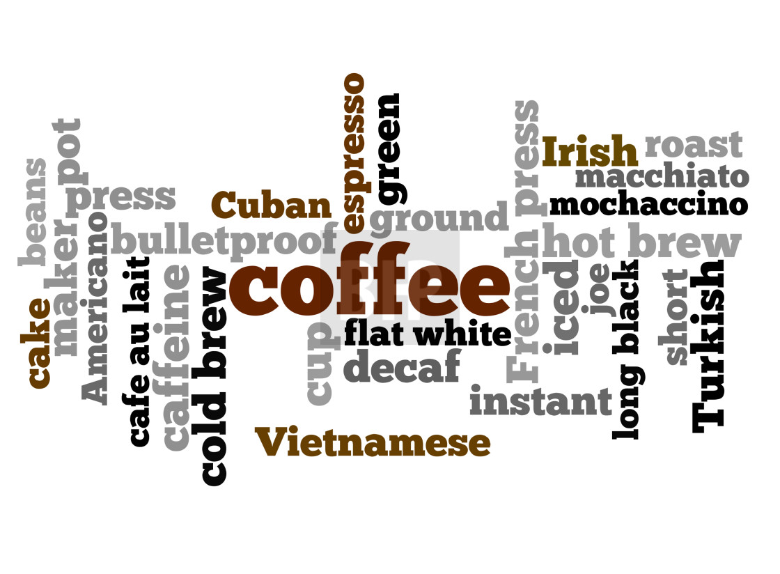 """Coffee word cloud - words related to coffee"" stock image"