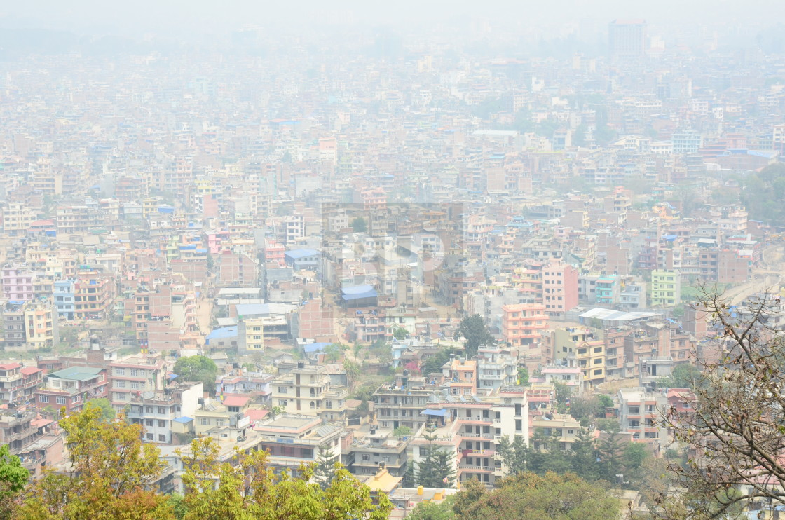 """Pollution Haze in Kathmandu, Nepal"" stock image"