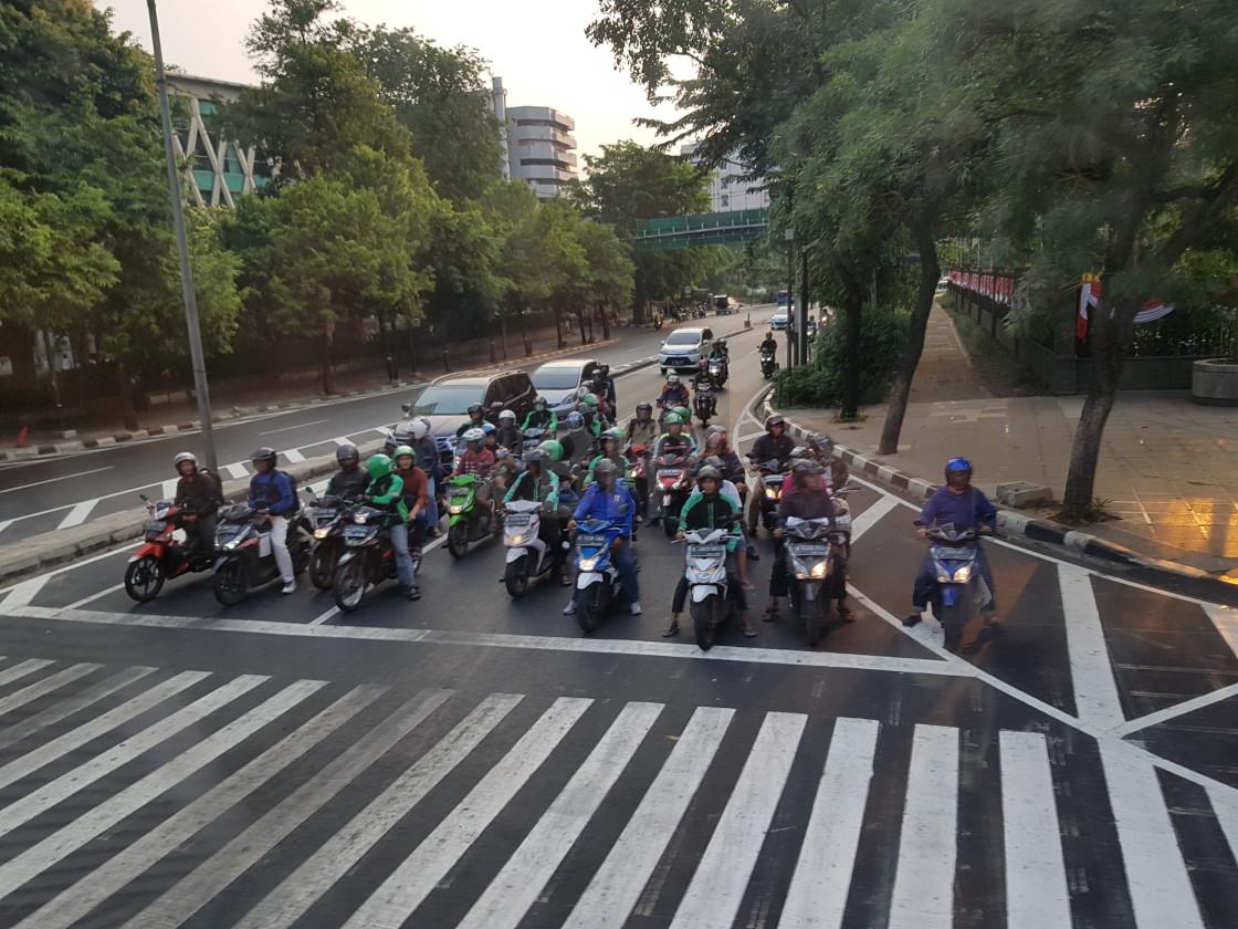 """Motorbikes, Jakarta, Indonesia"" stock image"