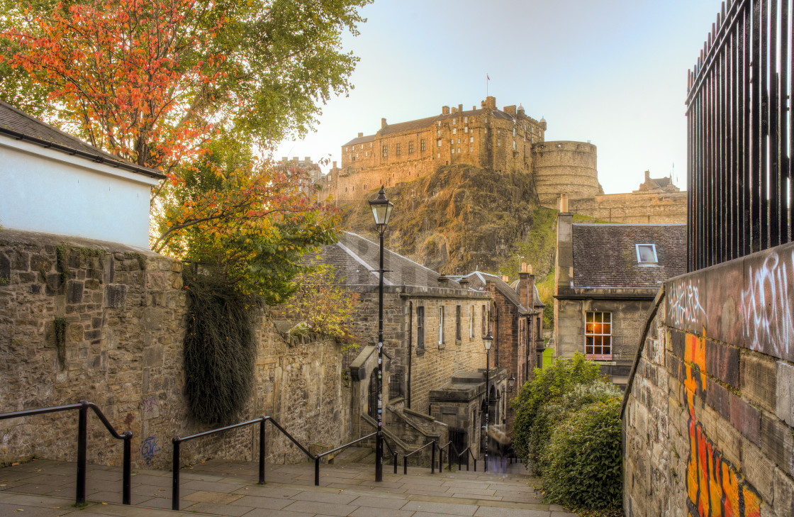 """The Vennel and Edinburgh Castle"" stock image"