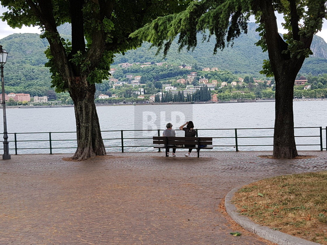"""Bench by Lake Como"" stock image"